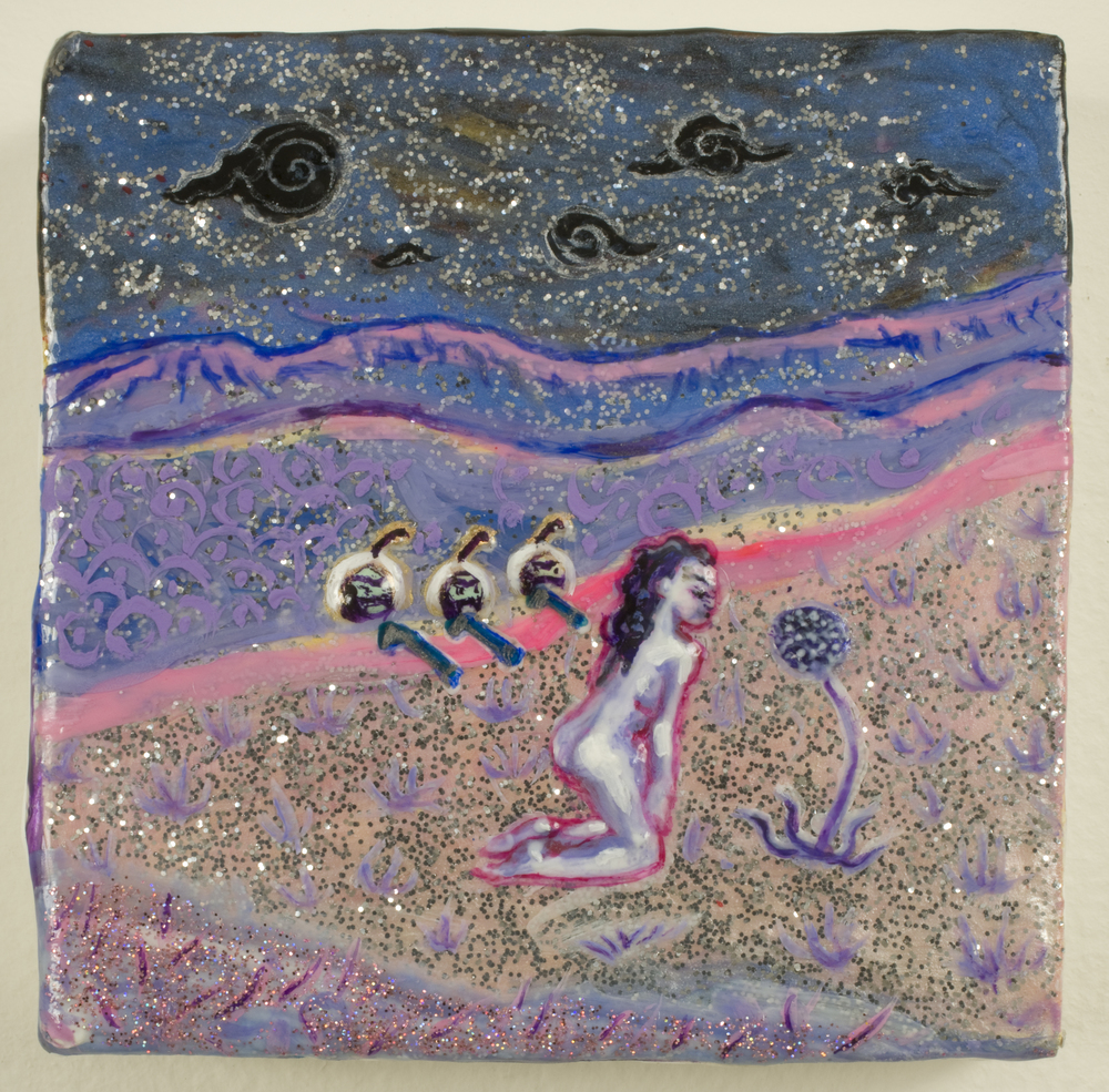 Wasted Wish, 2008, Gesso, acrylic and glitter on panel, 4 x 4 in