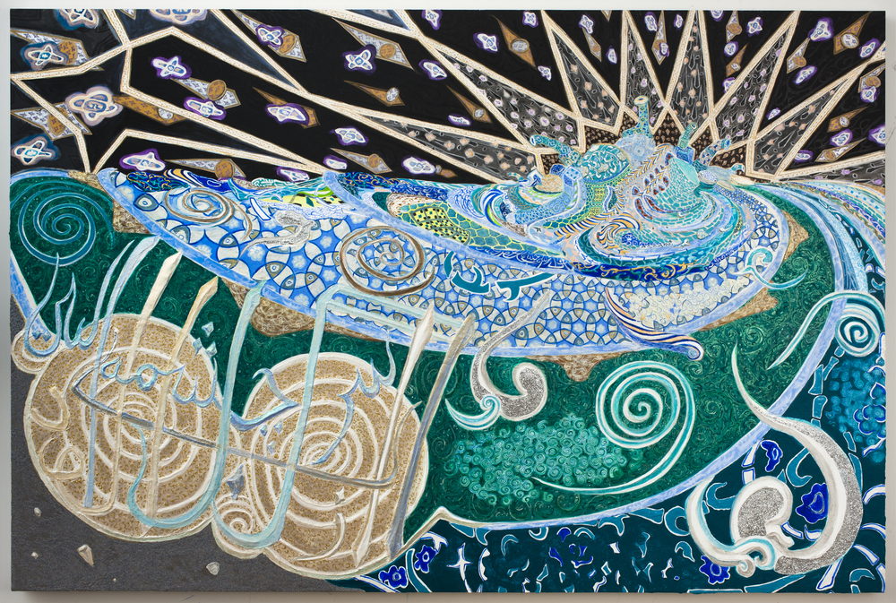 The Water Is Turbid From Its Source, 2012, Gesso, acrylic and glitter on canvas stretched on panel, 60 x 90 in