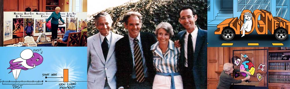 Center: San Diego, CA 1982. Jerry Jampolsky, Bill Thetford, Carol Howe and Ken Wapnick