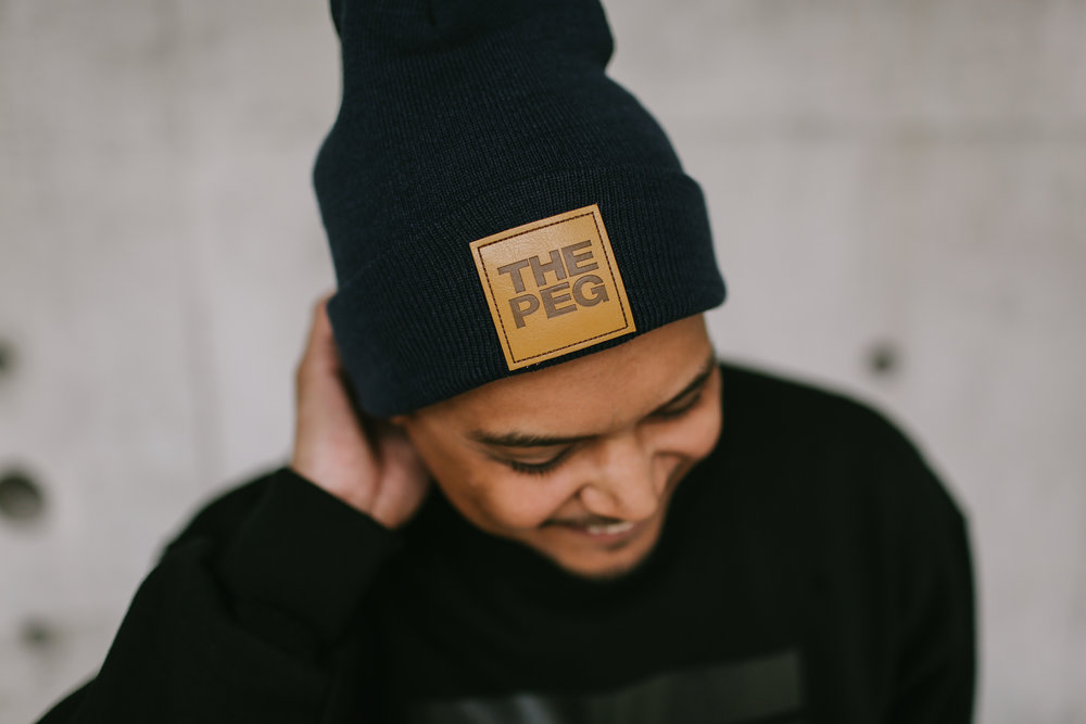 Toque Agency: The Peg Authentic Brand, Winnipeg, Leather Patch Beanie.