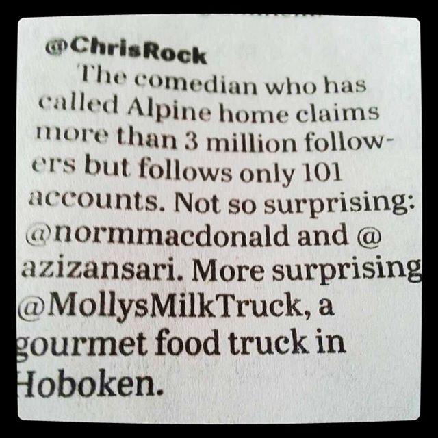 When the paper prints that hilarious comedian and actor Chris Rock is following us on Twitter 🙌🏼 #mollysmilktruck #foodtruck #chrisrock #love #startuplife #startup #hustle #hustlehard #gourmet #press #follow #twitter