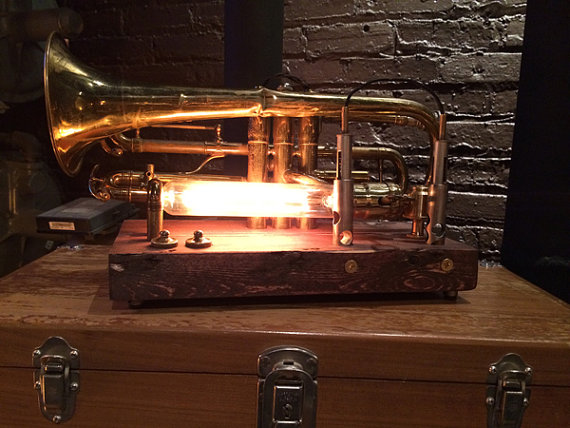 Jazzy - Vintage Trumpet on Cherry Wood $250 (sold)