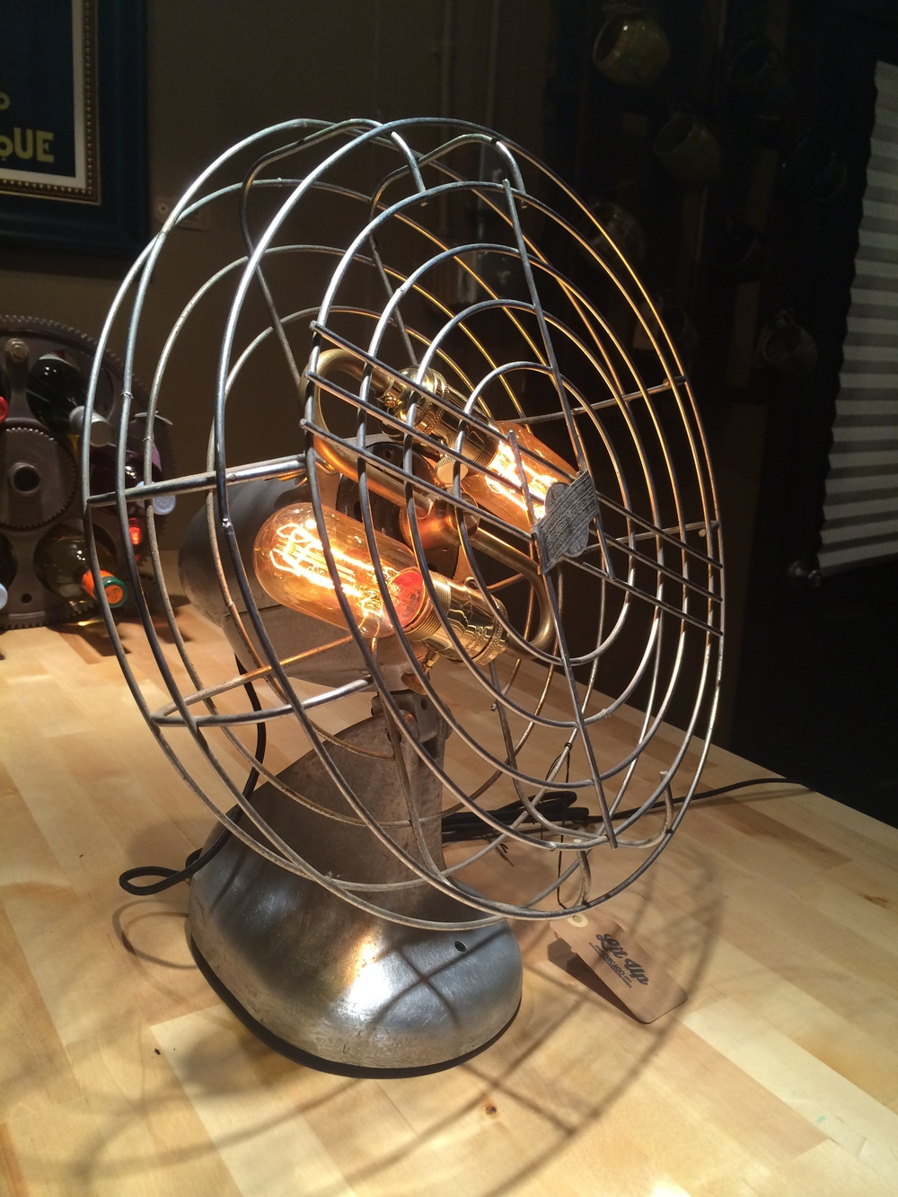 1950's  Pure Breeze Fan Lamp polished metal- $200