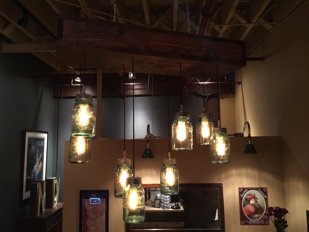 8 Ball Jar Wooden Case Chandelier - $550