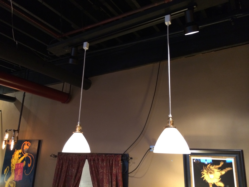 3' Brass Milk Glass Pendants - $135 Pair