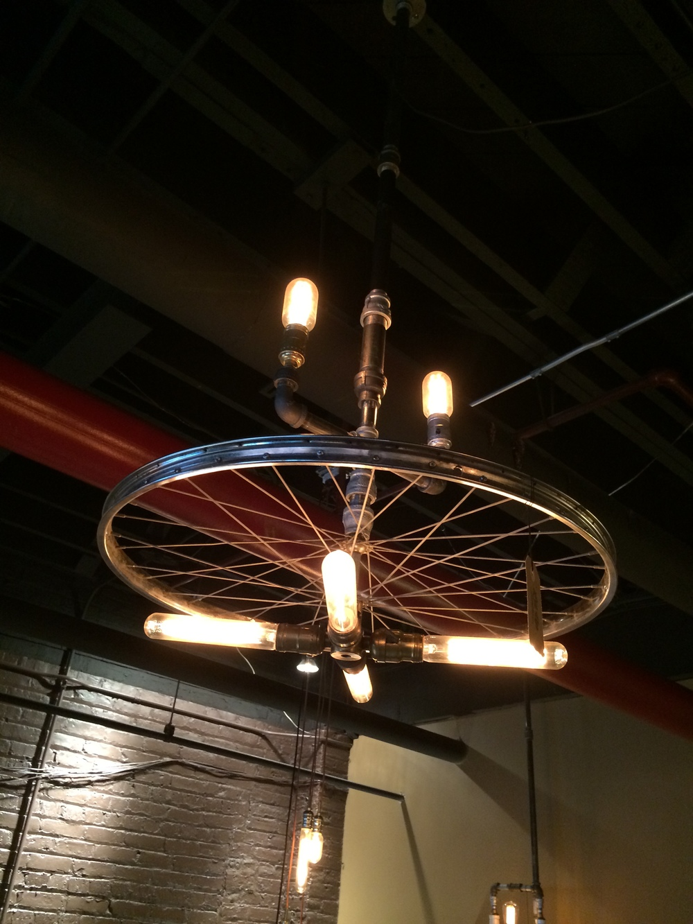 "4' 5"" Plumber Pipe & Wheel Chandelier 4 bulb - $450"