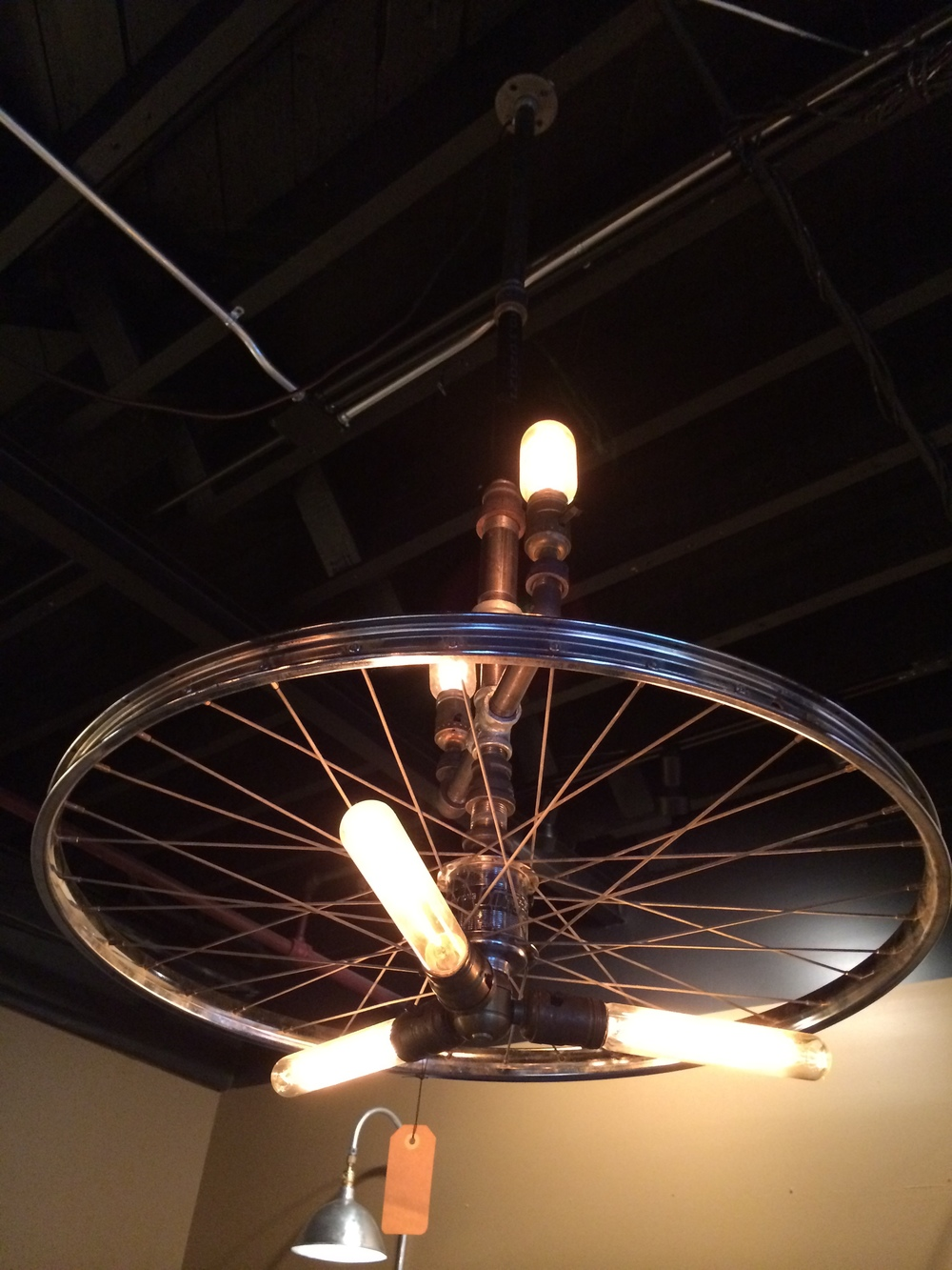 "4' 5"" Plumber Pipe & Wheel Chandelier 3 bulb - $400"