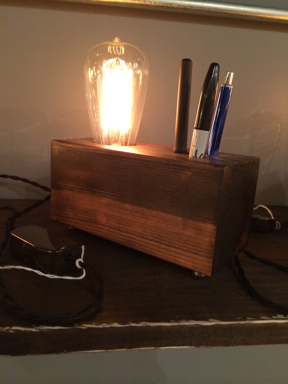 Block O'wood Lamp & Pen Holder - $65 (SOLD)