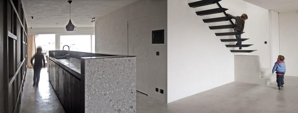 vloer : Stuc&Stone kalkglanspleister  keukentablet en kastdeuren :Stuc&Stone kalkglanspleister  muren en plafond : Kleifinish