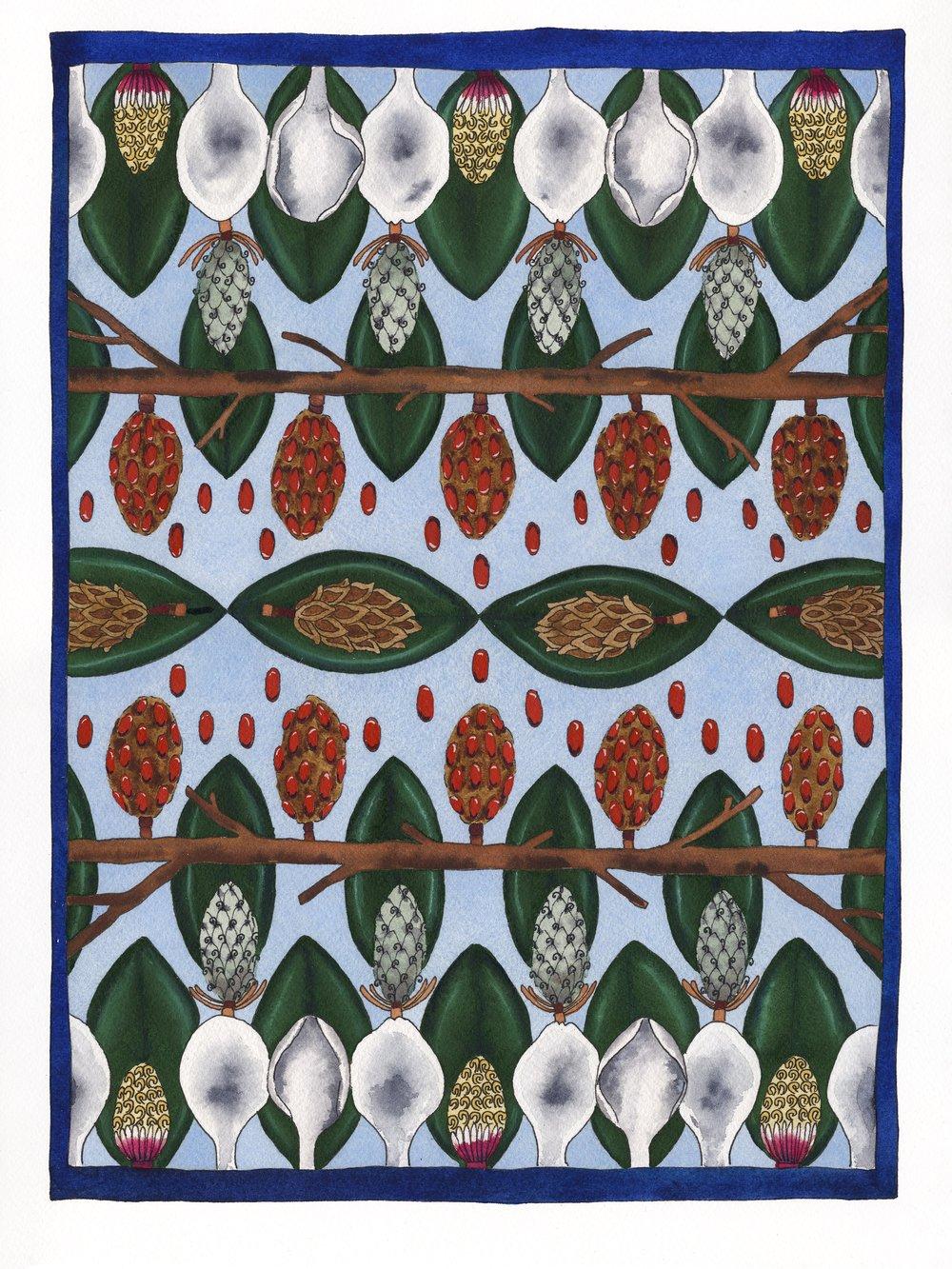 Magnolia Tapestry Life Cycle Emma Fick Art