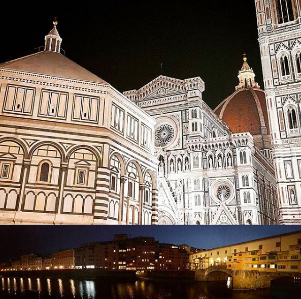 Florence's Duomo and Ponte Vecchio at night.