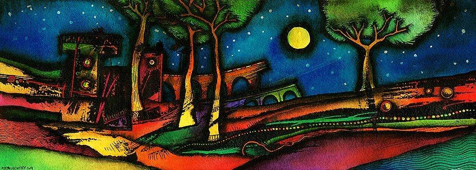 Tiamat Pardes - Tinta y acuarela sobre papel de algodón - 36 x 13 cm cada pieza