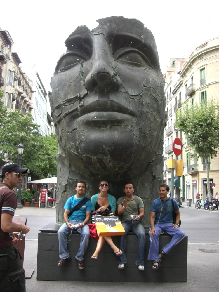 Taking a photo with some locals on Las Ramblas.