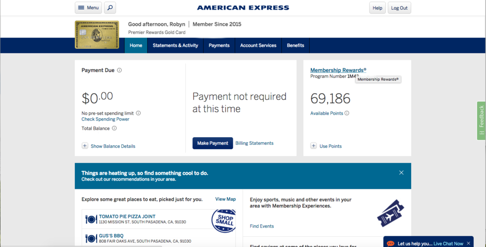 AMEX credit card points - In Tote Blog