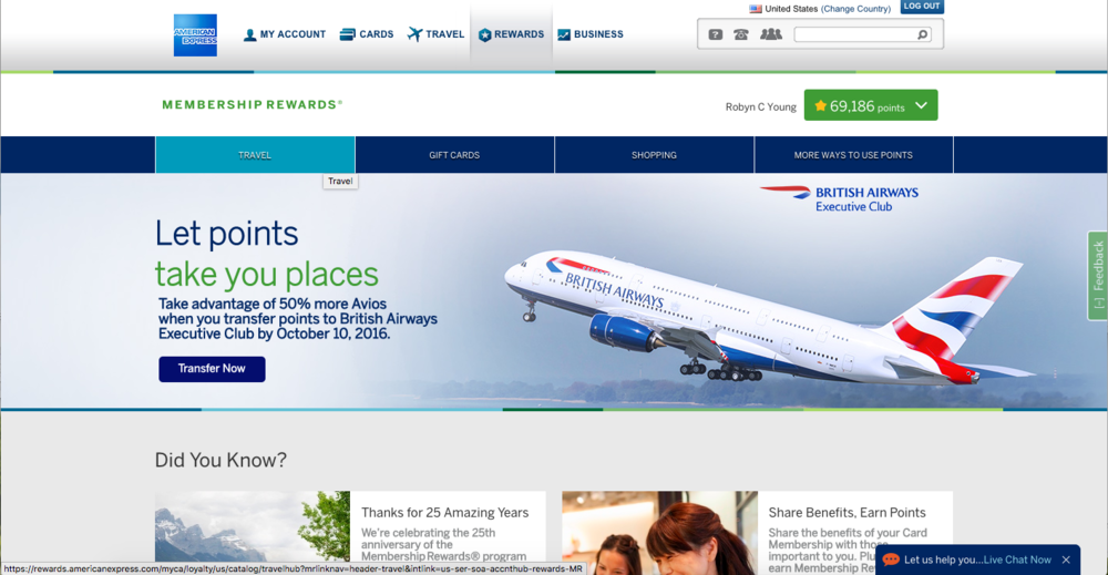 American Express points for travel
