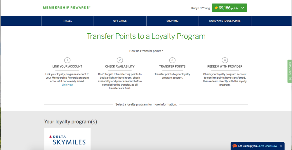 American Express transfer points for flights - In Tote Blog