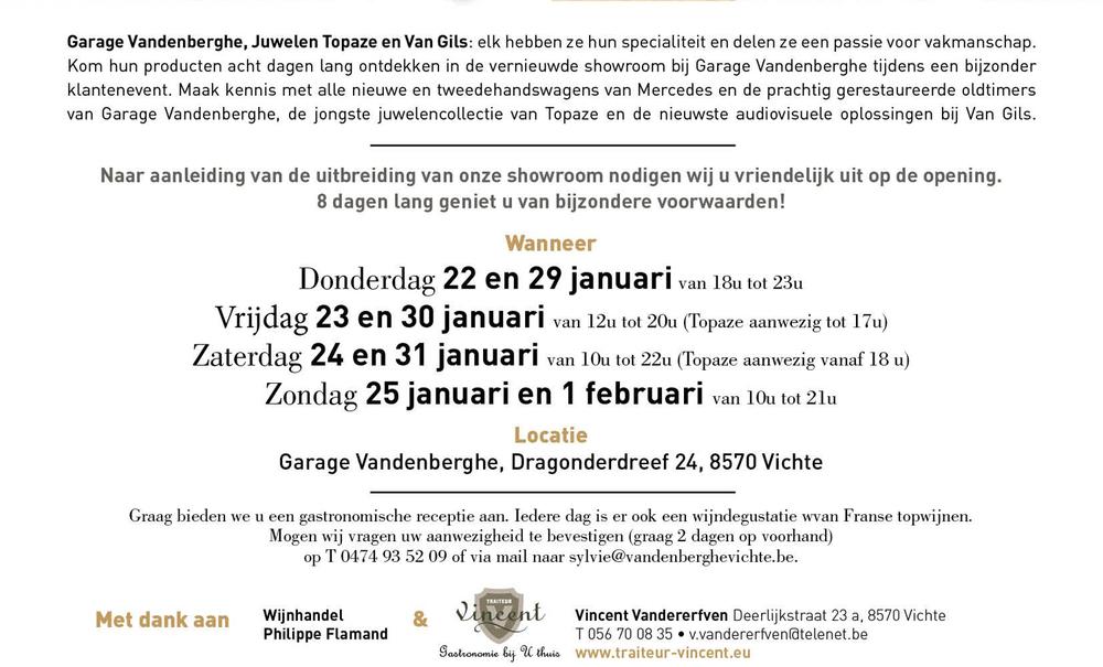 Event Vandenberghe, Van Gils, Topaze