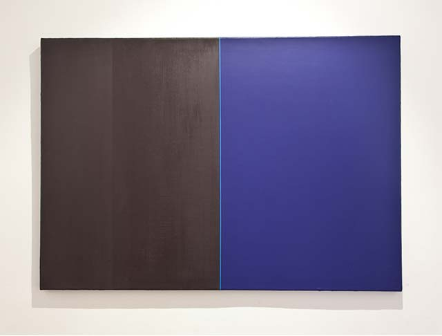 "Adam H: ""The blue line between black and blue"". 70 x 100 cm"