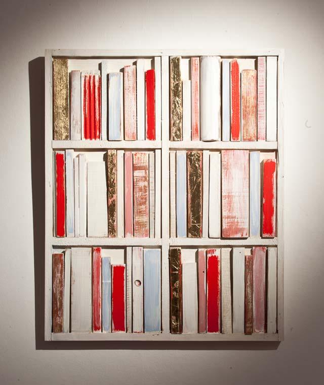 "Mikael Fare: ""Library"". Wood, 52 x 63 cm"