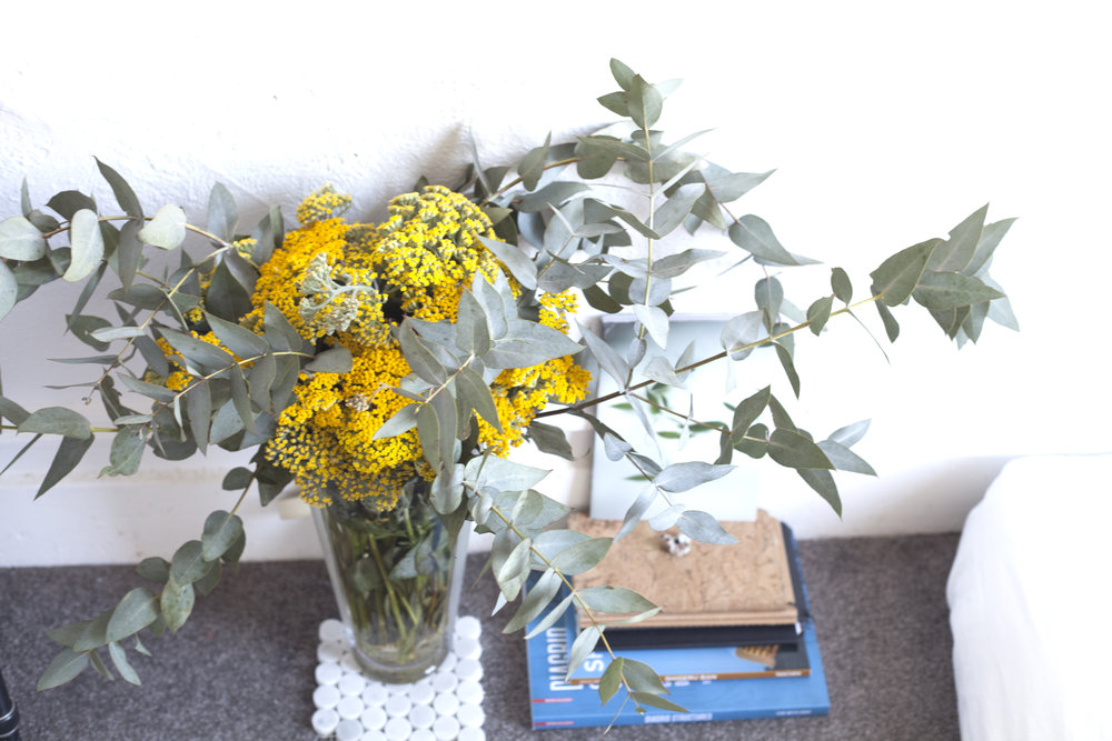 A bouquet of Eucalyptus and Yarrow