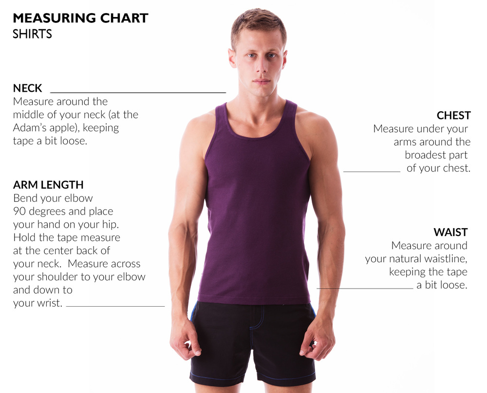 MEASURING CHART:  T-SHIRTS AND TANK TOPS Fits may vary by style or personal preference.