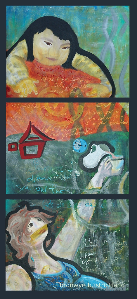 """""""Good Morning""""  2007, Acrylic on canvas - Triptych  Each panel is 24"""" x 18"""""""