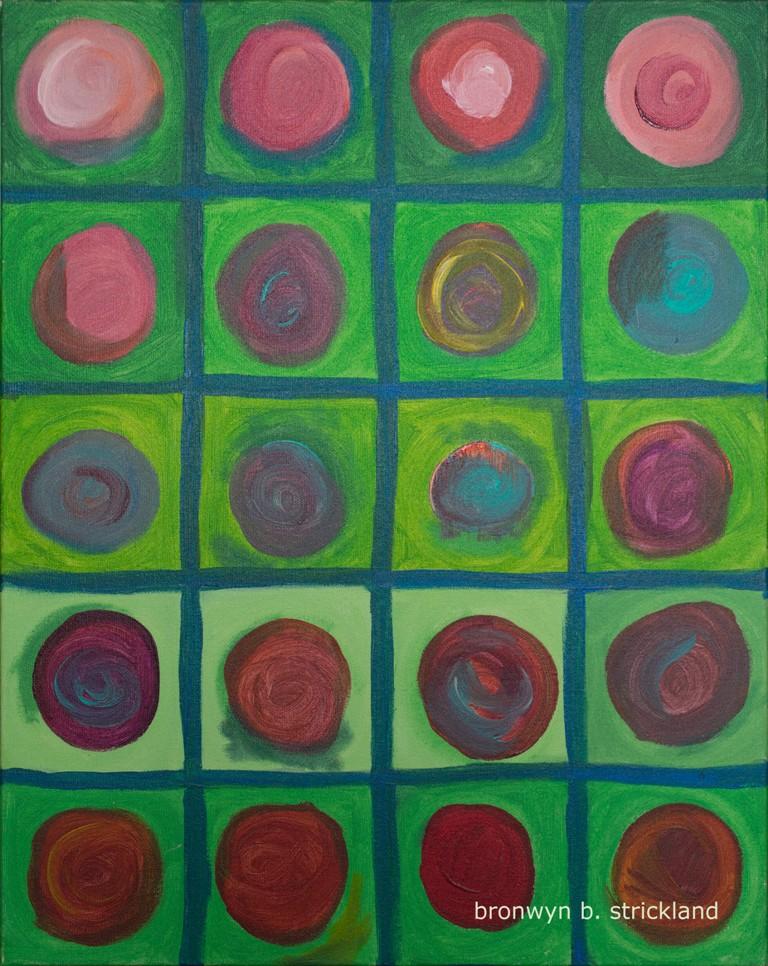 """Posies""  2005, Acrylic on canvas 16"" x 20"" x 2"""
