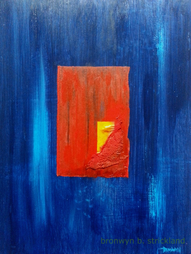 """Beating Heart""  2014, Mixed media on wood panel 11"" x 14"""