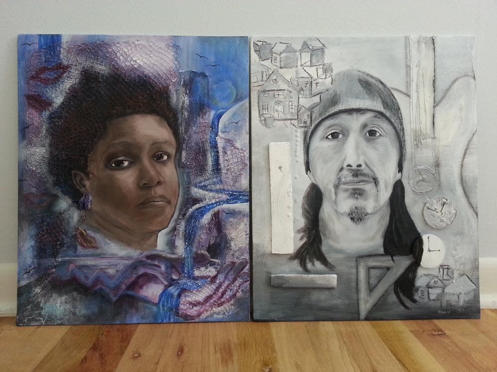 Left:  Acceptance: A Portrait of Shemeka ; Right:  Talent: A Portrait of Lewis