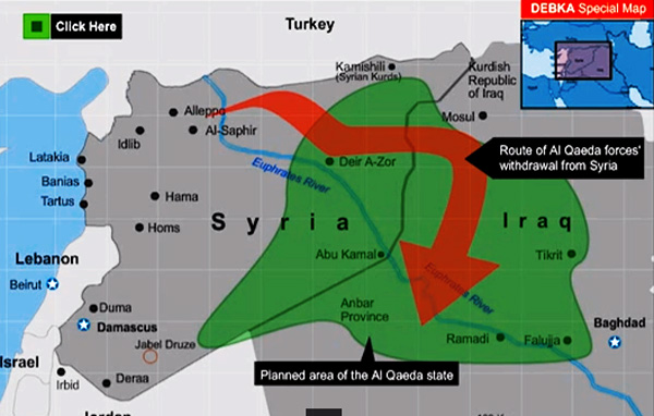 This 2009 diagram shows the path al-Qaeda retreated through -- Ironically, it also mirrors ISIS's current path through Iraq/ (Unknown contributor 2009)
