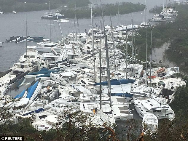 Millionaire's yachts piled up in Tortola's Paraquita Bay.