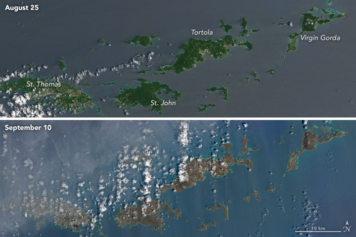 NASA photo from space shows the devastating effect Hurricane Irma had on the BVI.