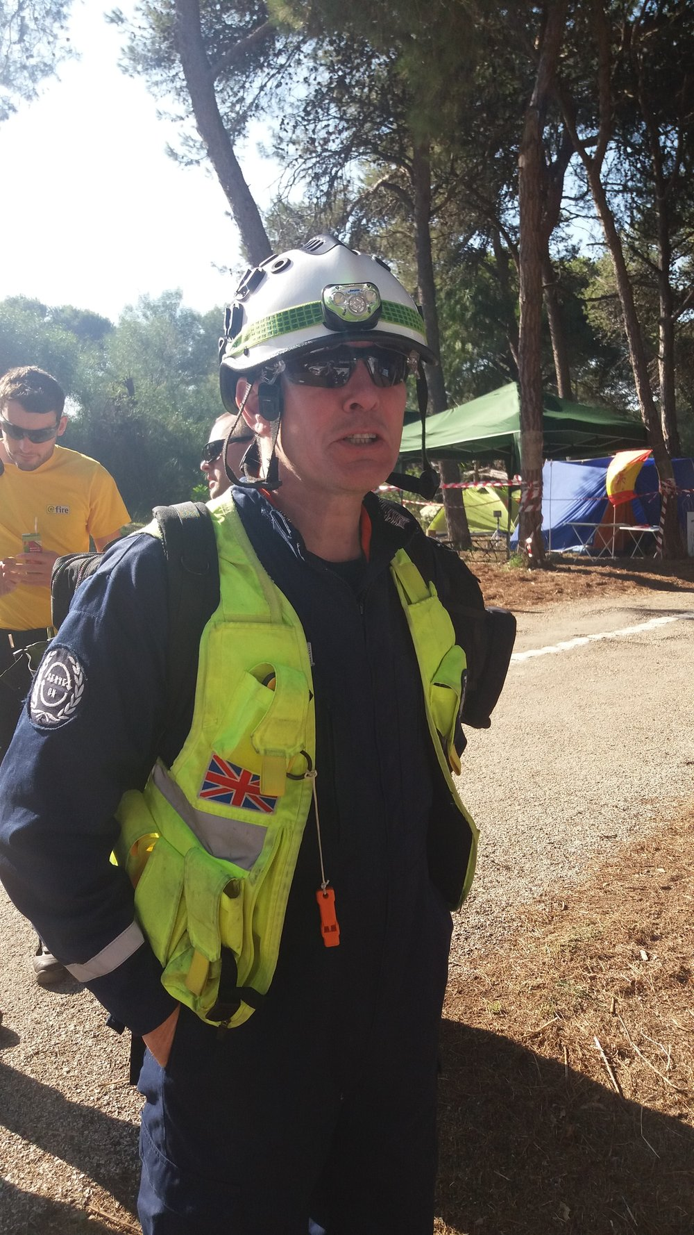 Serve On International Response Team member Brett takes a break from 'earthquake' rescue coordination tasks.