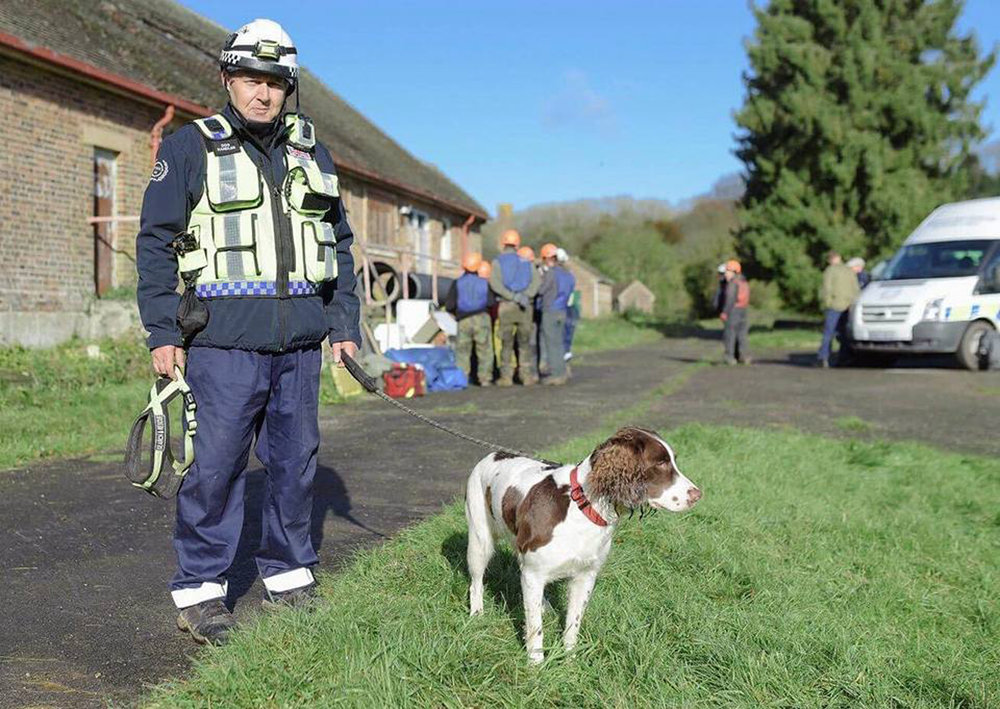 Search And Rescue dog Molly with handler James Lewis at Serve On training.