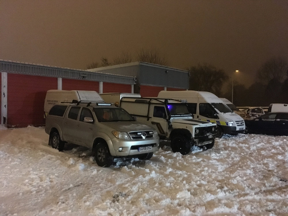 Four-wheel drive vehicles ready for action at Serve On's headquarters at Salisbury Fire Station.