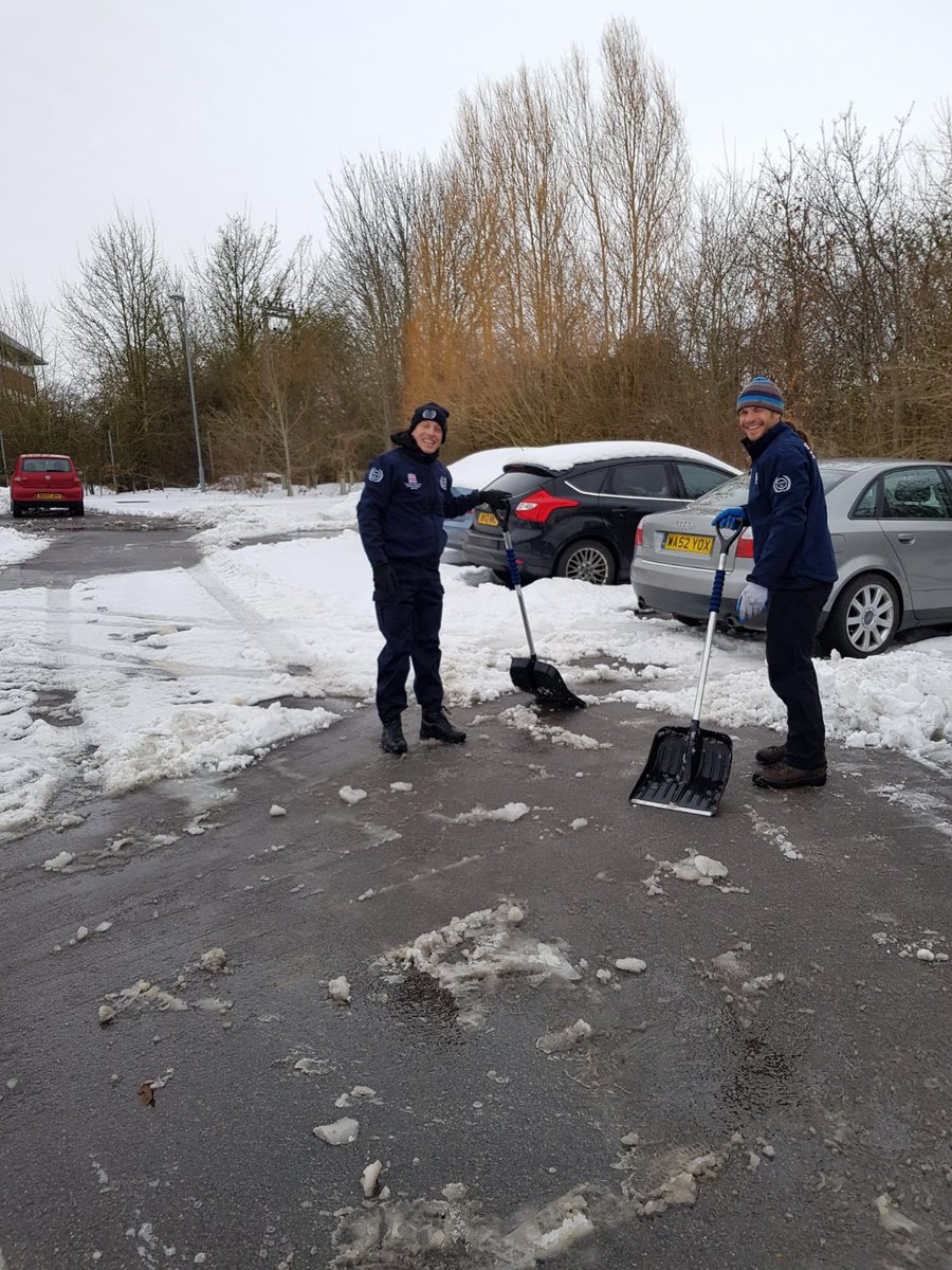 Serve On volunteers Paul and Ross clearing the snow from Salisbury district hospital car park.