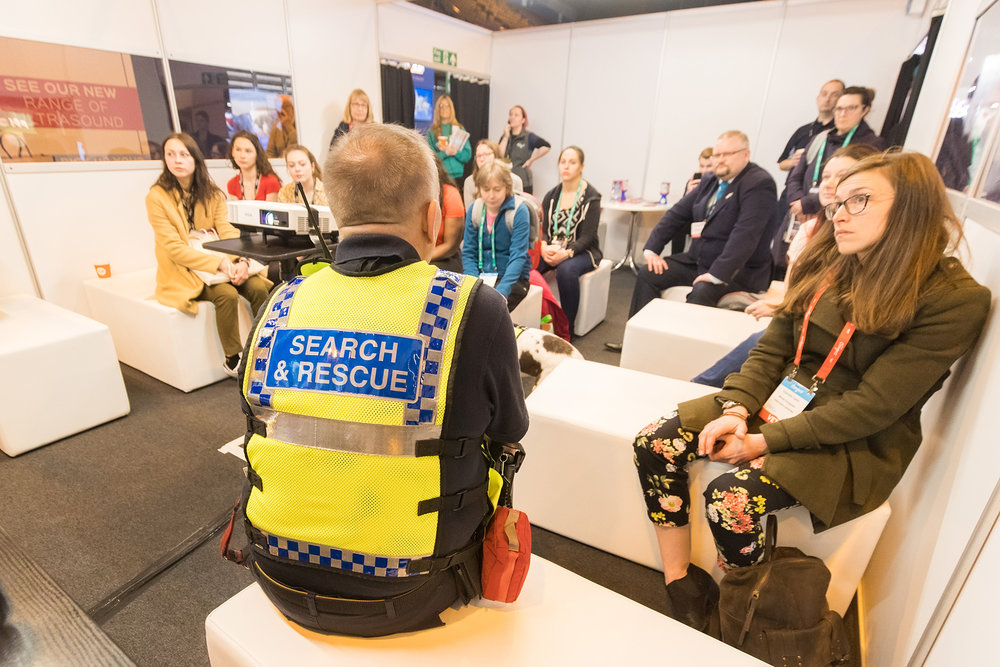 Serve On search and rescue Springer Spaniel Molly with handler James Lewis explained the work of the charity and its K9 team to veterinary delegates at the BSAVA Congress in Birmingham. Picture by Paul Clarke Photography