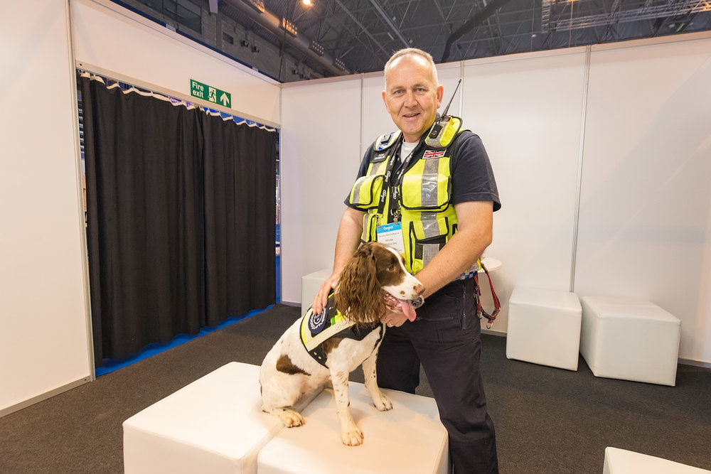 Serve On search and rescue Springer Spaniel Molly with handler James Lewis explained the work of the charity and its K9 team to veterinary delegates at the BSAVA Congress in Birmingham. Picture by Paul Clarke Photography.
