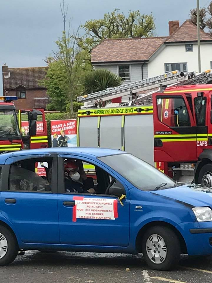 'Casualty' Lee Barnard takes one for the team as Serve On's Community Resilience Team helped Hampshire Fire and Rescue Service's car-cutting display at the Hayling Island 5 Schools' Family and Friends - 'Hi-5' spring fete.