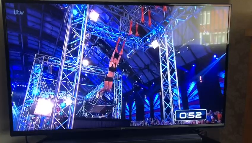 Serve On International Response Team recruit Dionne tackles the Cargo Net and Tassles obstacle on ITV's Ninja Warrior UK show