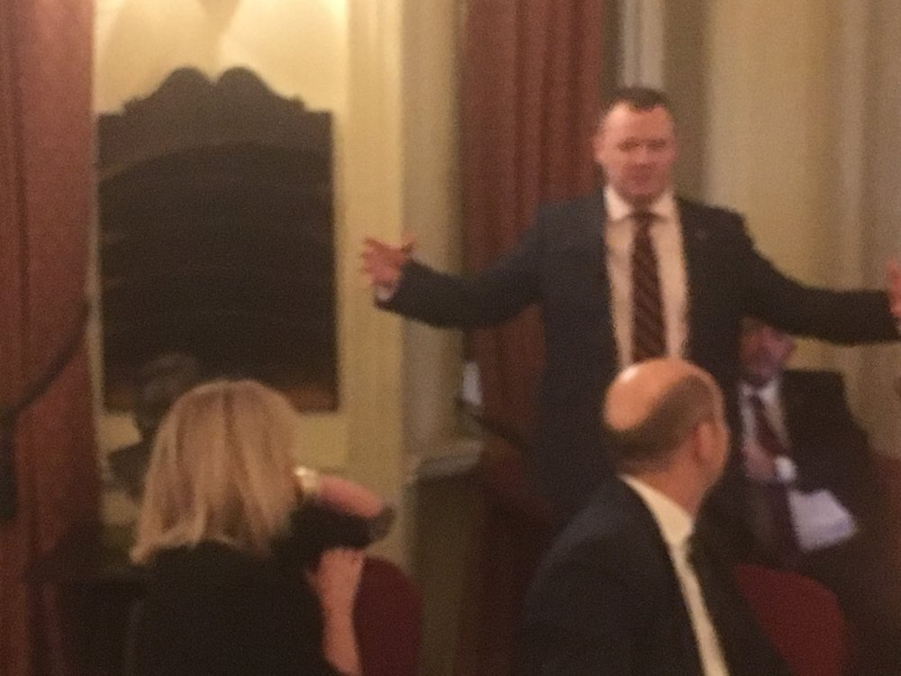 Serve On Ambassador Pete Dunning addressing guests, including fellow ambassador Joanna Lumley, at a recent fund-raising dinner.