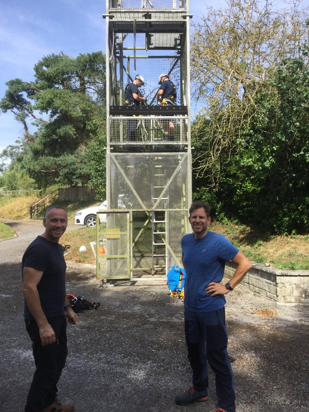 Serve On International Response Team recruits Steve and Benjamin before their SWAH training with Ian and Nick (up the tower) at Tisbury Fire Station.