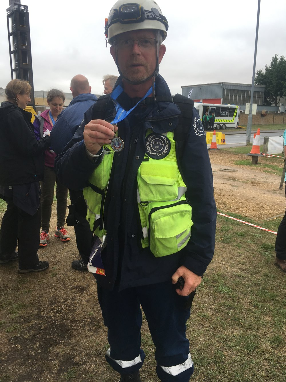 Serve On International Response Team member Martin somewhat over-dressed for the 10k walk as part of the Salisbury 5-4-3-2-1 event, but all for a good cause.