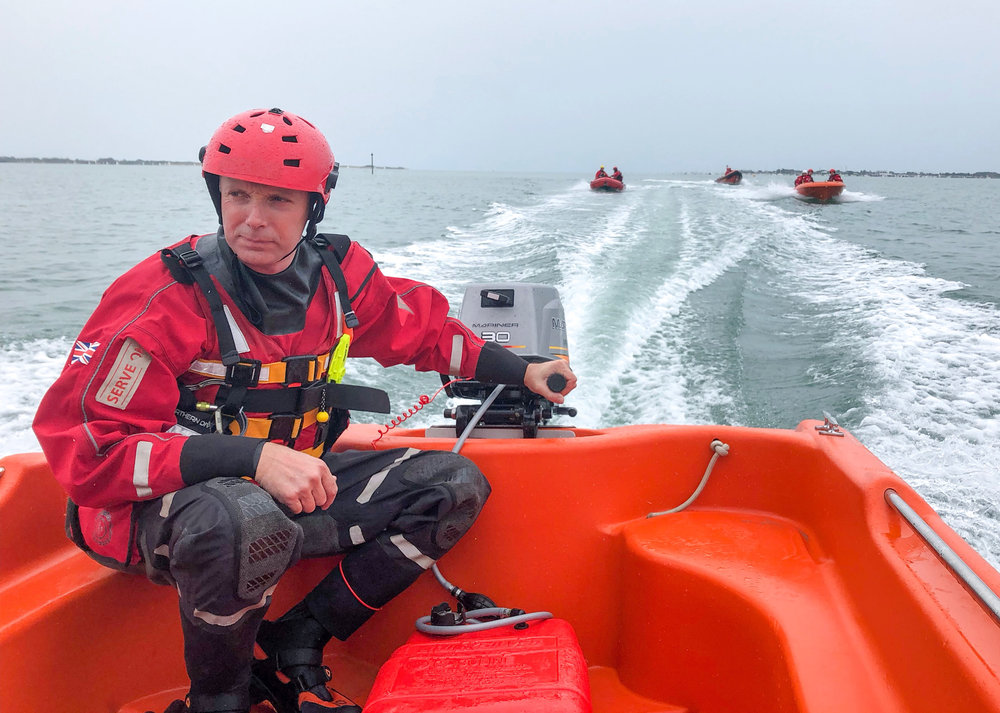 ApackofRIBs Now: Operations Manager Craig leads out the 'squadron' of Serve On boats providing safety cover for the annual Round Hayling Island Challenge organised by Hayling Island Sailing Club.