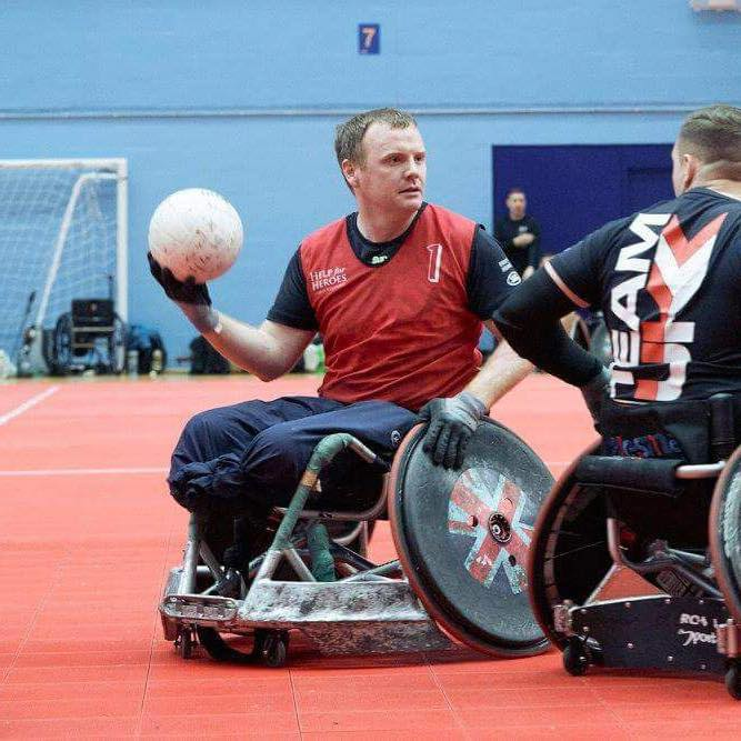 Serve On ambassador Pete Dunning during training with the UK Invictus Games wheelchair basketball team.