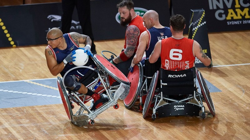 Team UK, including Serve On's Pete Dunning, played its way to victory over USA in the semi-finals of the Invictus Games wheelchair rugby. Photo by Getty Images/Invictus Games Sydney 2018