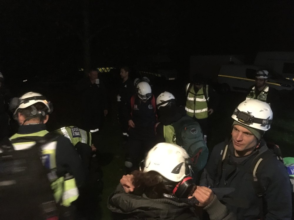 Serve On International Response Team recruits head out for a night 'rescue'.