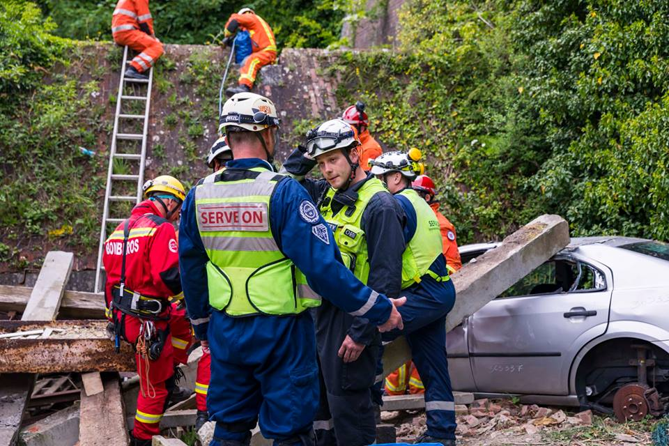 Serve On International Response Team volunteers in action during a previous Simex Series disaster response exercise.