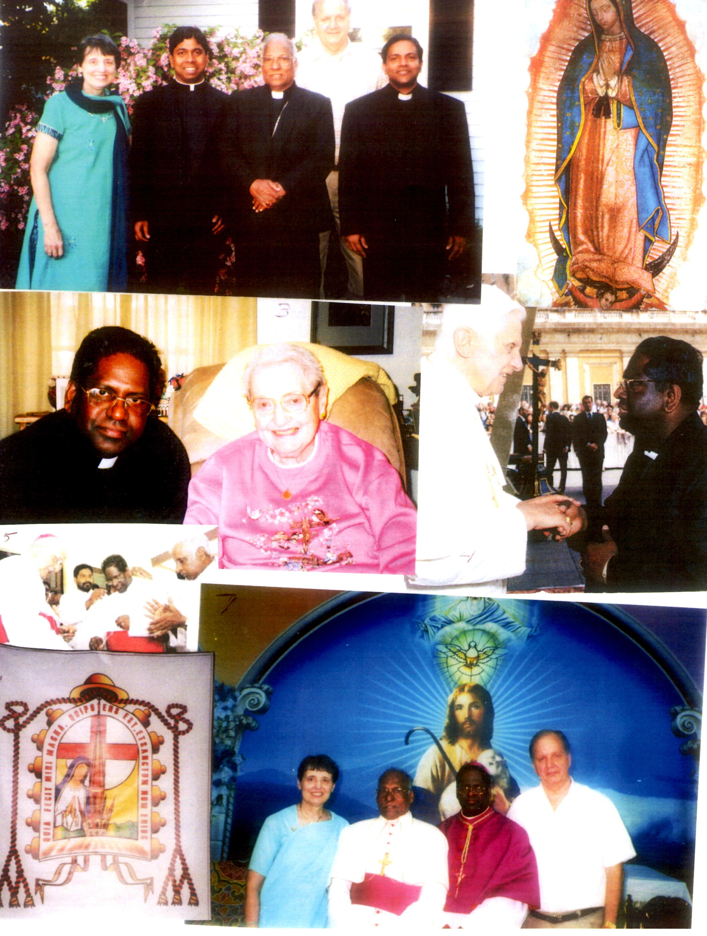 Pictures: I) Kathy, Fr. Thomas Tharayil, new Director of Social Service, Bishop Peter, Fr. Thomas Thyparambil ( ministering at St. John Vianney Seminary) Dave 2) Our Lady of Guadalupe 3) Bishop Sebastian and sponsor Rose Mayer 4) Pope Benedict and Bishop Sebastian on May 10, 2006 5) Bishop Sebastian receiving Pontifical Sash and Crucifix from Archbishop Cornelius 6) Bishop Sebastian's Coat of Arms with motto 7) Kathy, Bishop Peter, Bishop Sebastian, Dave - (Consecration day) July 2, 2006