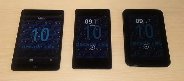 Left to right - iPad Mini, Nexus 7, Tesco Hudl